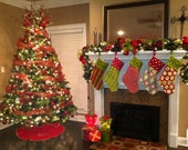 Set of 4 Christmas Stockings- Personalized Free