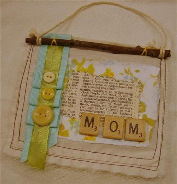 Mother's Day Gift Mixed Media Wall Hanging, Thanks Mom