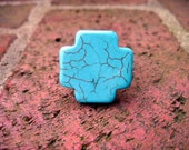 Turquoise Howlite Cross Ring