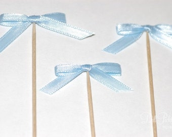 25 Baby Blue Satin Bow Cupcake Toppers or Finger food picks - Baby Shower or Wedding