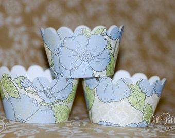 Blue & Green Floral Cupcake Wraps - Set of 24 Wraps - Vintage Sheet - Mini size