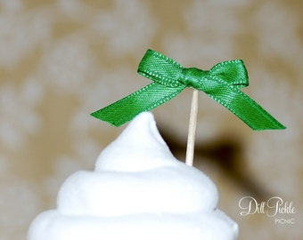 25 Green Satin Bow Cupcake Toppers or Finger food picks - Weddings & Birthday Party