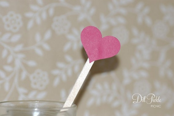 25 Red Heart topped drink stirrers / stir sticks - Great for Valentines