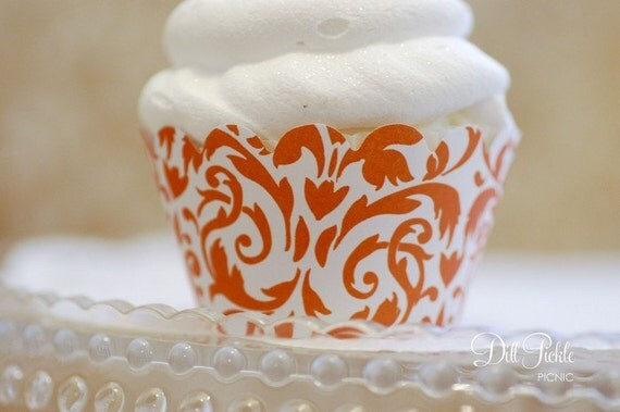 Tangerine Orange & White Damask Cupcake Wrappers - Standard Cupcake Wraps Set of 24