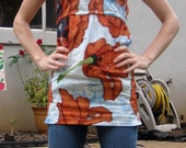 big poppy peasant top in sizes XS, S, M and L