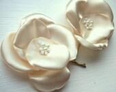 Honey blossom 2 satin bobby pin . for Brides, Bridesmaids or Flower girl