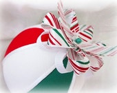 Classic Style Quilted Fabric Christmas Ornament Ball -  Candy Cane Lane