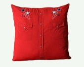 """Cowboy Shirt Pillow - American Shooting Stars - Includes Insert - 19.5"""" square - Red White & Blue"""