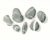 More Beach Stones from Hartland Quay, England, print of the original watercolor painting