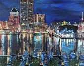 Baltimore Inner Harbor Acrylic Painting Giclee Fine Art Print 8 x 8 (10 x 12 white border)