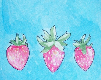 Strawberry Watercolor Painting Original