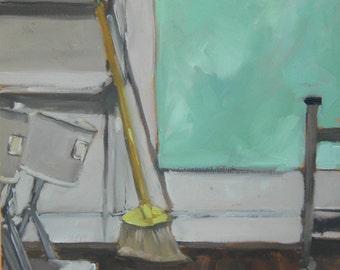Apartment Interior Living Room Original Oil Painting