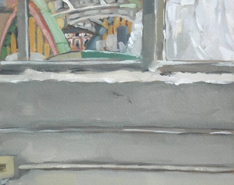Baltimore Window View Howard St. Bridge Original Oil Painting
