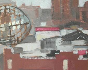 Baltimore Cityscape MICA Fox Building Original Oil Painting