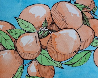 Watercolor and Sharpie Clementines Painting Original