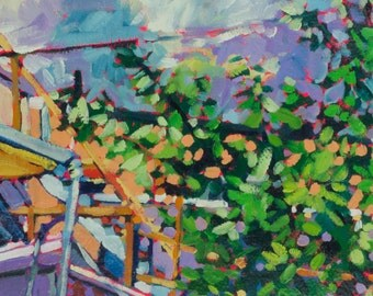 Baltimore Backyard Oil Painting Giclee Fine Art Print 5 x 9.5 (10 x 12 white border)