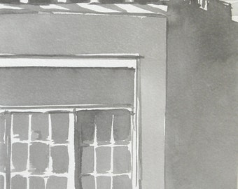 City Building Window Roof Original Ink Drawing