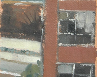 Baltimore Winter MICA Fox Building and Road Original Oil Painting