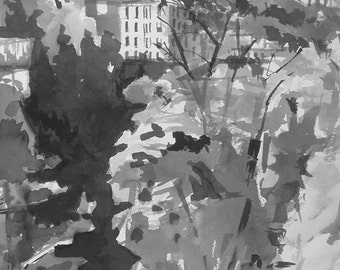 Baltimore Trees and Buildings Original Ink Drawing