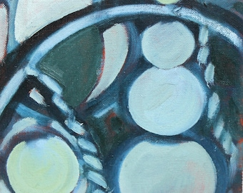 Original Oil Painting Geometric Abstract Blue Circles