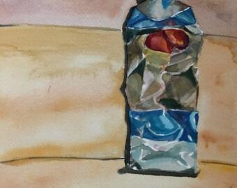 Original Watercolor Painting Blue Paint Tube