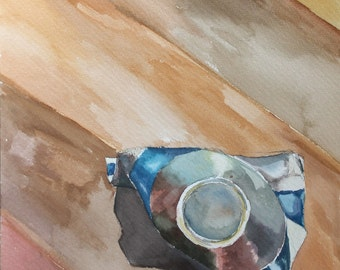 Original Watercolor Painting - Blue Paint Tube from Above Birds Eye