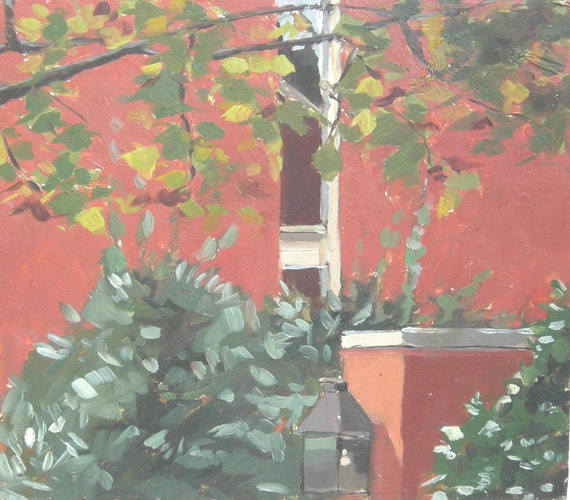 Baltimore Row House Tree Bushes Original Oil Painting on Recycled Wood Panel