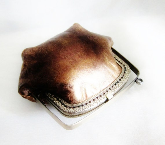 leather coin purse metallic copper cp013