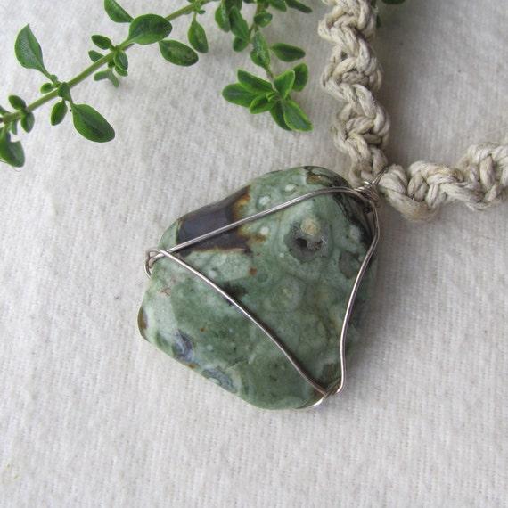 Rainforest Rhyolite Hemp Necklace 2