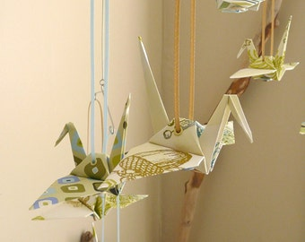 AVERY - Origami Mobile or Garland - Seaside Holiday : Blue Green Gold Cranes