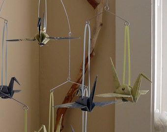 RICKI - Origami Mobile or Garland - Retro Themed Cranes