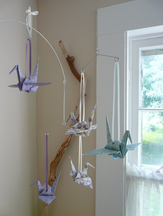 VERONICA - Origami Mobile or Garland - Cranes in Lavender Cream Mint Floral