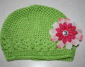Infant Kufi Hat -- Apple Green Hat with Pale/Hot Pink Flower --