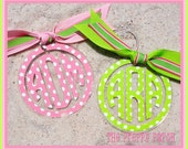 """Monogrammed Personalized Polka Dot Pattern Clear Acrylic 2.75"""" Keychain"""