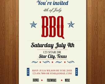 Summer 4th of July BBQ Party Invitation - Independence Day Invite - Customizable