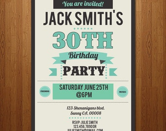 21st, 30th, 40th, 50th, 60th surprise birthday party invitation - any age