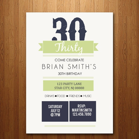 21st, 30th, 40th, 50th Birthday Party Invitation - any age