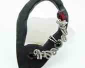 Ear Cuff - Silver, Onyx and Red Swarovski Crystals Fairy Ear Cuff