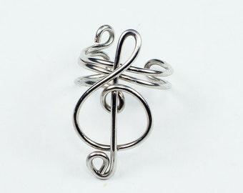 Silver Ear Cuff - Small Treble Clef