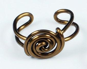 Spiral Button Ear Cuff - Vintage Brass