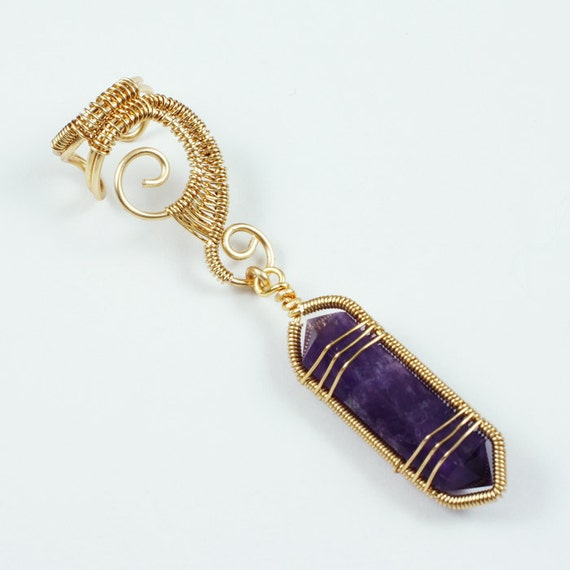Woven Gold Swirly Ear Cuff with Amethyst Crystal Point