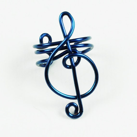 Dark Blue Small Treble Clef Ear Cuff