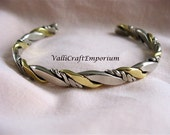 Handmade Twisted Metal Cuff Bracelet: Silver and Brass