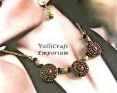 Handmade Vintage, Ruby Red and Gold Necklace Set