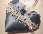 Blue Lavender Sachet Heart in Satin with Teal Roses