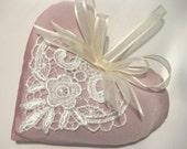 Lavender Sachet Heart in Pale Pink Taffeta with Lace Applique