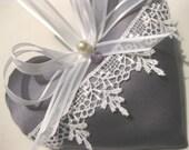 Purple Lavender Sachet Heart with Antique Pearl & Amethyst Gemstone