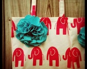 bigcountry market tote pink elephants turquoise flower
