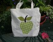 Sour Apple:  Eco-friendly Reusuable Appliqued Canvas Totebag / Tote / Market Bag / Library Bag / Preschool Tote