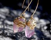 Long Amethyst Earrings. Purple Raw Amethyst. Crystal Earrings. Gold Filled Ear Wires.Wire wrapped Dangles. Crystal Jewelry. Amethyst Jewelry